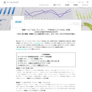 転職サービス「doda(デューダ)」、「平均年収ランキング2020」を発表