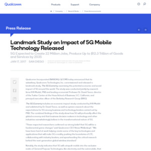 Landmark Study on Impact of 5G Mobile Technology Released
