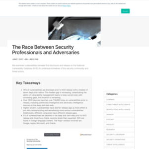 The Race Between Security Professionals and Adversaries
