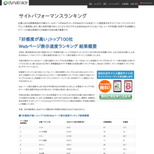 「好感度が高い」トップ100社 Webページ表示速度ランキング