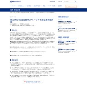 埼玉県内「日産自動車」グループの下請企業実態調査