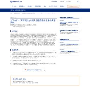 2018年に「周年記念」を迎える静岡県内企業の実態調査