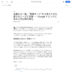 """自粛から一転、""""再開モード""""から見えてきた新たなニーズと定着──Google トレンドに見る 6 月以降の変化"""