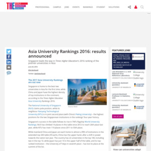 Asia University Rankings 2016