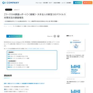 【ワークスHI調査レポート】<続報> 大手法人の新型コロナウイルス対策状況の調査報告