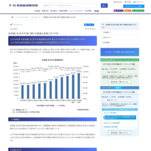 保育園・託児所市場に関する調査を実施(2019年)