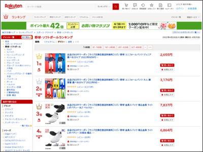 サイト「【楽天市場】野球 | デイリー売れ筋人気ランキング(1位 ~80位) - ランキング市場」のスクリーンショット