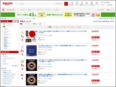 サイト「【楽天市場】卓球 | デイリー売れ筋人気ランキング(1位 ~80位) - ランキング市場」のスクリーンショット